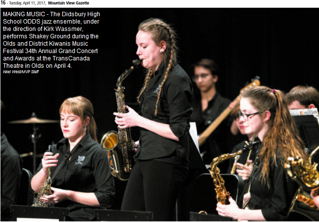 DHS Odds jazz ensemble perform at the Olds Kiwanis Music Festival 34th Annual Grand Concert.